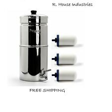 Propur Big Water Filtration System Gravity Stainless w/ 3 ProOne G2.0 Filter NEW