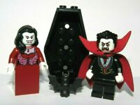 Lego 2 Minifigure Vampire Vampyre Dracula Bride Witch & Coffin Monster Halloween