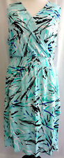 Lane Bryant Dress Womens Plus Size 26 28 Blue Jersey Knit Faux Wrap