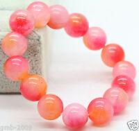 10mm Natural Pink&White&Orange Jade Jadeite Round Beads Stretchy Bangle Bracelet