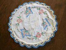 Vintage Hand Embroidered Table Top Doily Butterfly & Flower from Amish Farm Sale