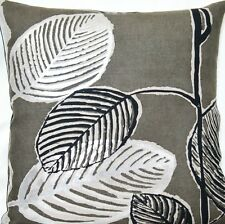 Silver Black Gray Cushion Cover Ficus Pierre Frey Printed Linen Fabric 16""