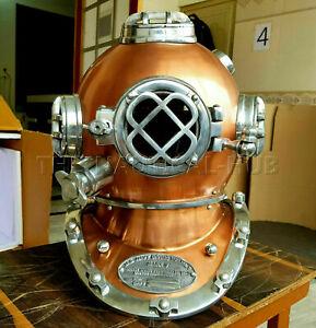 """Antique Diving Helmet Deep Sea Mark V US Navy Marine Scuba Divers Helmet 18"""""""
