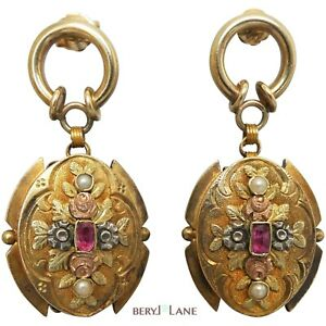 Antique VICTORIAN 18ct TRICOLOUR GOLD Upcycled Ornate RUBY & Seed PEARL EARRINGS