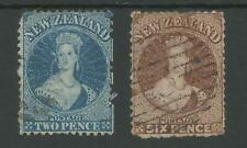 NEW ZEALAND 1862-4 WAT LARGE STAR 2d & 6d CAT £200 MINIMUM