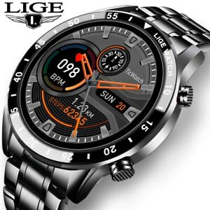 2020 New Luxury Mens Smart Watch Steel Band Heart Rate Blood Pressure Monitor