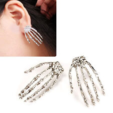 UN3F Skull Bone Skeleton Hand Earring Goth Punk Rock Ear Stud Party Fancy Dress