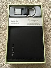 Mens Calvin Klein CK Leather Wallet Black + Keyring Gift Box Set New