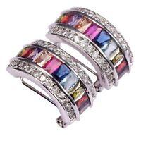 Fashion Women Columnar Crystal Rainbow Earrings Ear Clip Stud Jewelry Gifts New