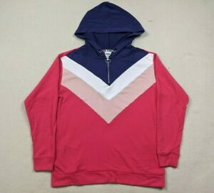 Victoria Secret Pink 1/4 Zip Chevron Pullover Hoodie Women's Sz Small Oversized