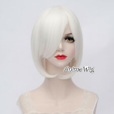 Fancy Lolita White Short Wavy Basic Bob Vintage Cosplay Wig Heat Resistant+Cap