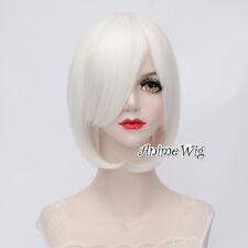 Lolita White Short Wavy Basic Bob Fashion Party Women Cosplay Wig Heat Resistant
