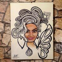 Gemälde moderne Kunst Aquarellbild Afro Frau Porträt orientalisch abstrakt sign.