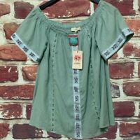 ANTHROPOLOGIE ENTRO MINT GREEN BOHO SHIFT WOMENS TOP BLOUSE SIZE SMALL