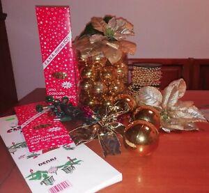 NATALE. Lotto due scatole di luci, palline, ghirlande, decorazioni e altro