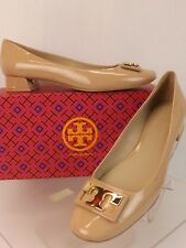 Tory Burch Beige Patent Leather Gigi Gold T Buckle Reva Low Heel PUMPS 9