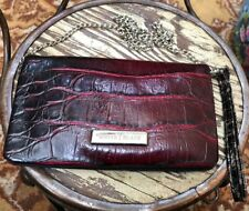 White House Black Market Clutch Purse Dark Red Color Faux Snakeskin