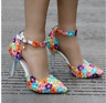 Women's Lace Floral Wedding Pointed Toe Pumps High Heel Stilettos Buckle Shoes