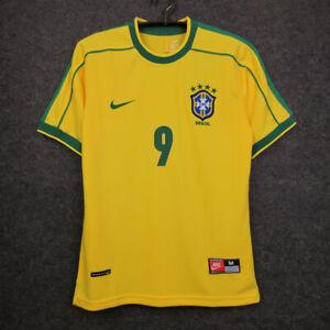 1998 Brazil Home Retro Soccer Jersey #9 Ronaldo