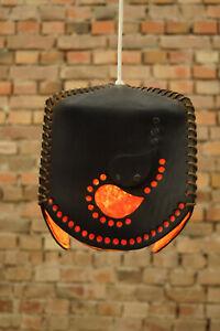 50er Vintage Ceiling Light Leather Lamp Hanging Pendant Midcentury