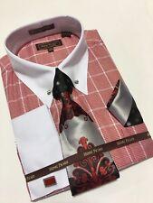 Men's HENRY PICARD French Cuff Dress Shirt Necktie Hanky Cufflinks Set RED FC160