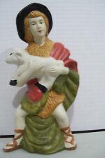 "Vintage Nativity Boy Holding Pet Sheep 7"" Tall Figurine"