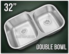 "Double Bowl 32"" Undermount Kitchen Sink 304 Stainless Steel Offset 60/40 8252"