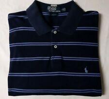 Polo Ralph Lauren Mens Navy/Purple Striped Short Sleeve Rugby Golf Shirt -Large