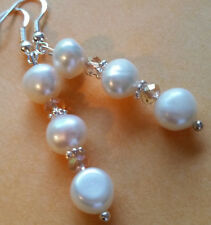 Triple 8mm Freshwater Pearl & Crystal Earrings-Sterling Hook-Combined Shipping