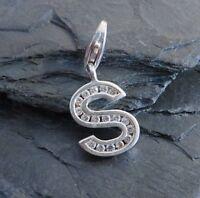Toller 925 Sterling Silber Bettelarmband Anhänger S Buchstabe Zirkonia Initiale