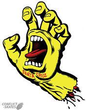 "SANTA CRUZ  ""Screaming Hand"" Skateboard Sticker YELLOW 16cm x 10cm Old Skool"