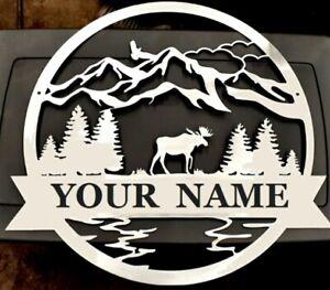 25 inch Moose Monogram Custom 2020 Metal Sign home decor Christmas Gift