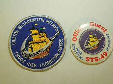 Lot of 2 NASA Space Shuttle Mission STS-49 Endeavour Iron On Patch & Button Pin