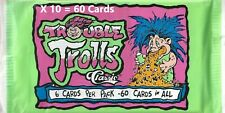 Vintage 10 Pack of 1992 Trouble Trolls Classic Trading Cards, 6 per pack, New