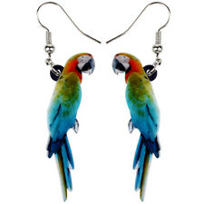 Floral Resting Macaws Parrot Bird Earrings Fashion Acrylic Jewelry For Women Kid