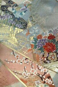 Vintage SILK Japanese Kimono OBI Fabric Panel  #1104