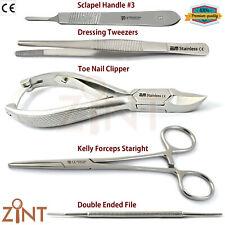 Chiropody Instruments Set Nail Nipper Kelly Forceps Dressing Tweezers Scalpel X5