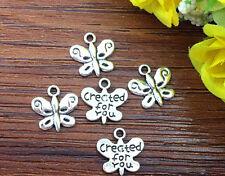 15pcs Butterfly Tibetan Silver Bead charms Pendants DIY jewelry 13x13mm