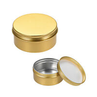 5oz Round Aluminum Cans Tin Screw Top Metal Lid Containers Gold Tone 150ml 3pcs