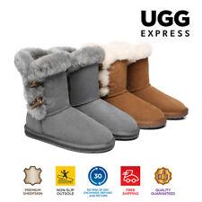 NEW UGG Women Short Boots Talia Twin Face Sheepskin Toggle Closure Fluffy Top
