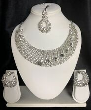DD30 Bollywood Indian Necklace Earrings Tikka Jewellery Set Silver White Stones