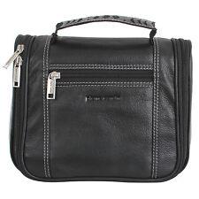 Pierre Cardin 100 Leather Hanging Travel Washbag Toiletry Bag - Black