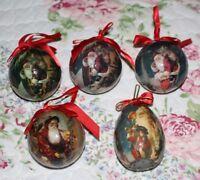 5 Lot Vintage Paper Mache Victorian Christmas Ornaments Patricia Reach Egg Santa
