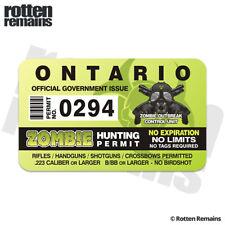 Ontario Zombie Hunter Hunting Permit Decal Sticker Outbreak Response Unit EMV
