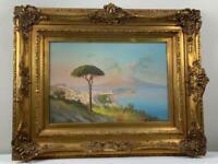 Antique Italian Neapolitan Naples Gouache Painting Mount Vesuvius Signed Paper