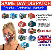 Christmas Face Mask Cotton Layered Adjustable Washable Reusable Shield Adult New
