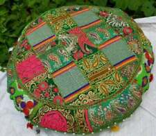 "Patchwork Floor 18"" Round Cushion Cover Decorative Handmade Green Ethnic New UK"