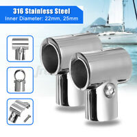 25mm Stainless Steel Boat Yacht Rail Handrail Pipe Tube Connector Clamp Fitting