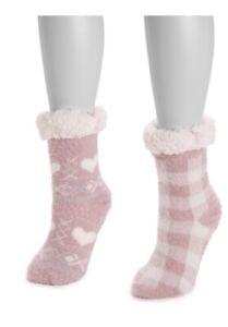 Muk Luks 2 Pair Women's Cabin Socks Soft Fully Lined. Non Skid. L/XL(8-10). NEW!