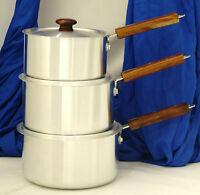 Klassic 3 Piece Saucepan Set Cookware Pot Aluminium Wooden Handle with Lids
